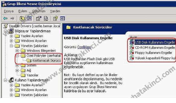 GPO USB Disk Engelleme