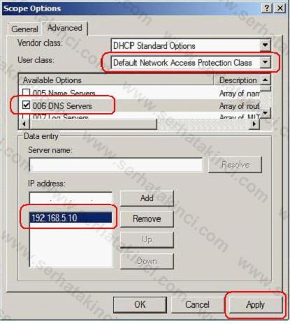 NAP İçin DHCP Ayarları 8