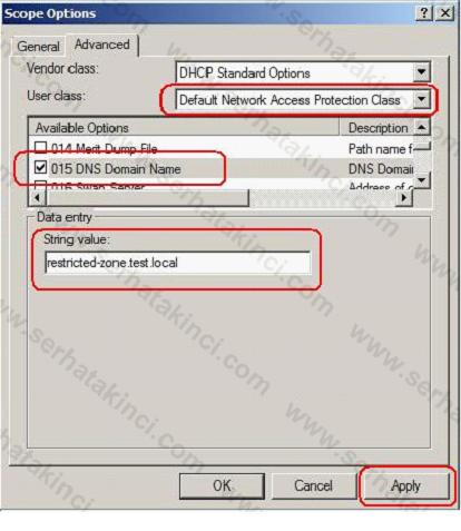NAP İçin DHCP Ayarları 9