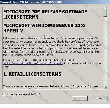 Hyper-V Kullanıcı Anlaşması