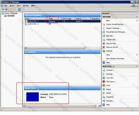 Hyper-V Manager VM Thumbnail