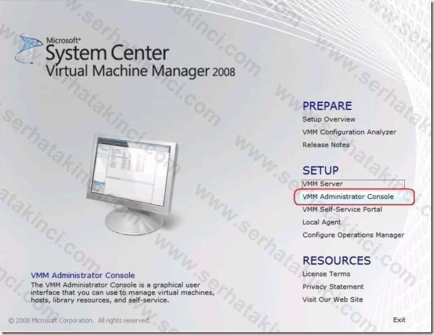 VMM Administrator Console Kurulumu - Adım 1