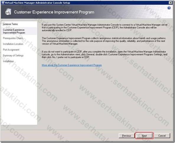 VMM Administrator Console Kurulumu - Adım 3