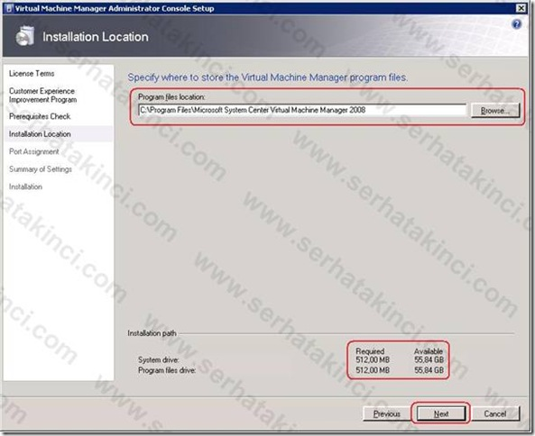 VMM Administrator Console Kurulumu - Adım 4