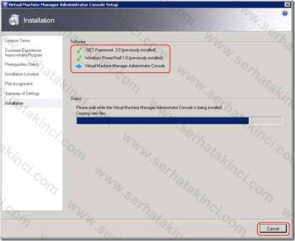 VMM Administrator Console Kurulumu - Adım 8