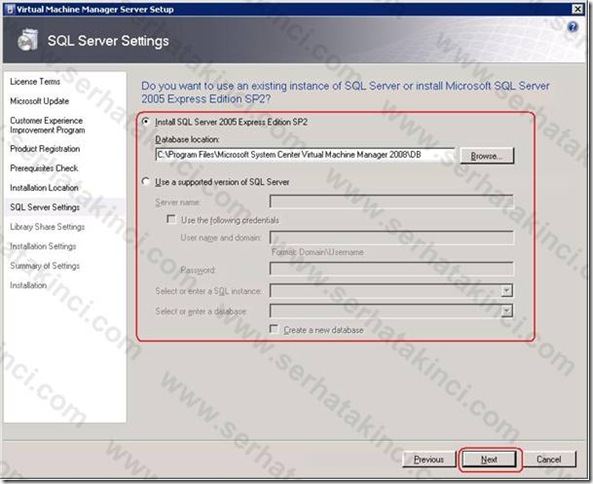 VMM Server Kurulumu - Adım 8
