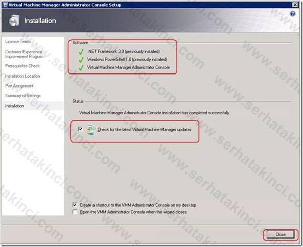 VMM Administrator Console Kurulumu - Adım 9