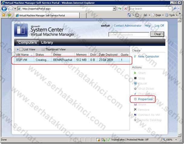 Self-Service Portal Kullanıcı Aksiyonları 8