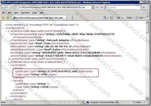 Sanal Makine XML Dosyası