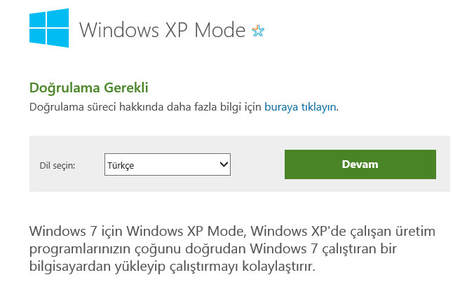 Windows 7 XP Mode İndir