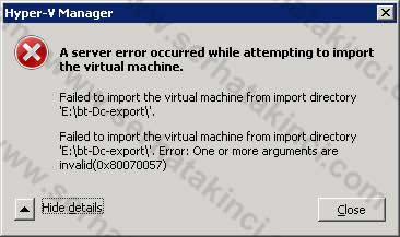 A Server error occurred while attempting to import the virtual machine