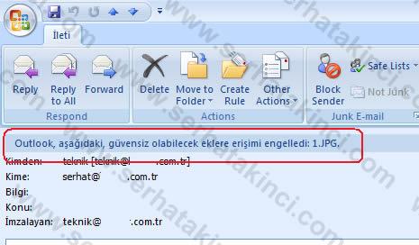 Outlook güvensiz olabilecek eklere olan erişimi engelledi