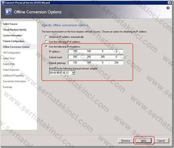 VMM Offline P2V - Adım 12