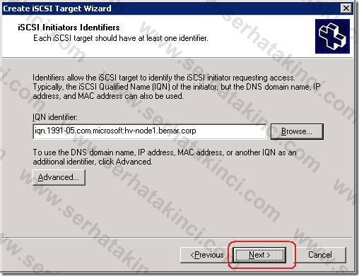 iSCSI Target Tanımı - Adım 5