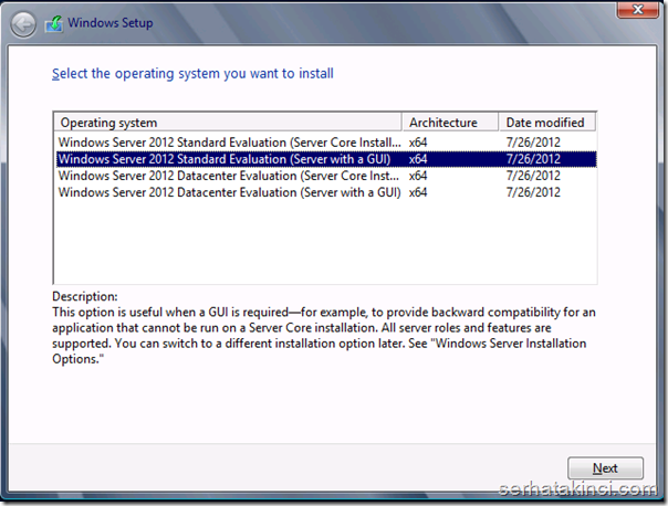 Windows Server 2012 Standard Deneme Sürümü