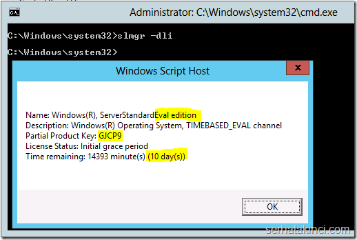 Windows Server 2012 - Aktivasyon Periyodu