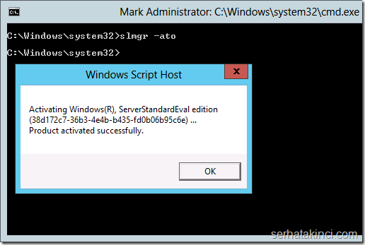 Windows Server 2012 Aktivasyonu