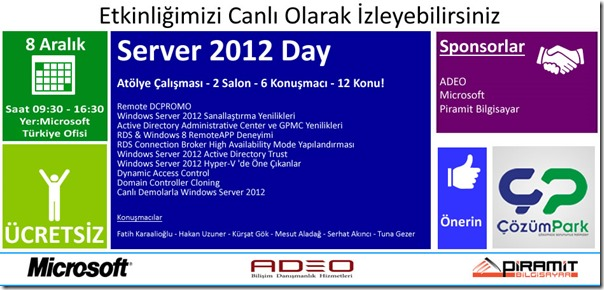 Etkinlik - Windows Server 2012
