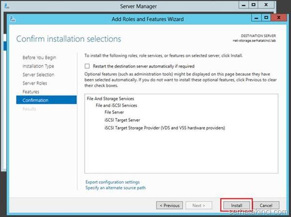 Microsoft iSCSI Target Kurulumu - Adım 6