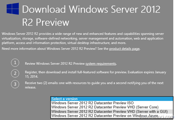 Windows Server 2012 R2 Önizleme VHD 1