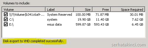 Disk2vhd - Çevrim Tamamlandı