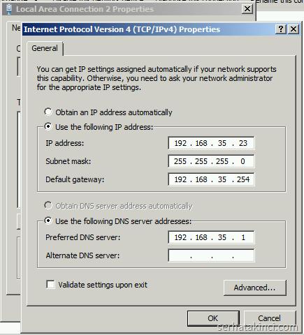 TCP/IP Ayarları