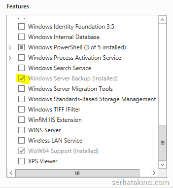 Windows Server Backup - Feature