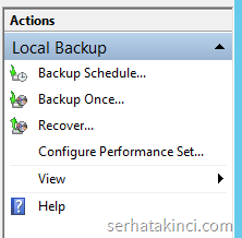 Windows Server Backup - Backup Once