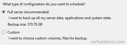 Windows Server Backup - Yedekleme Tipleri
