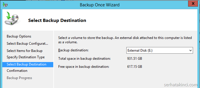 Windows Server Backup - External Disk