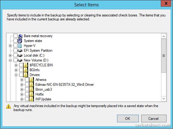 Windows Server Backup - Yedekleme Seçenekleri