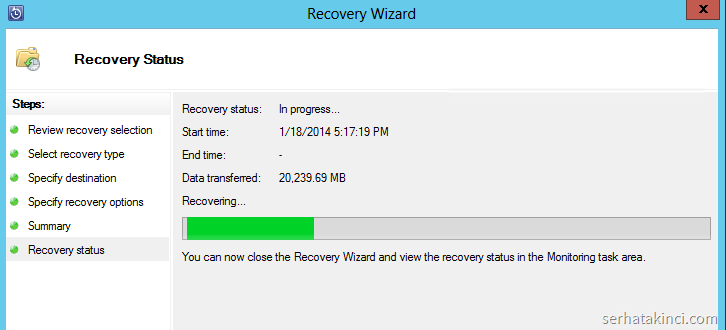 Recovery Wizard - In prrogress