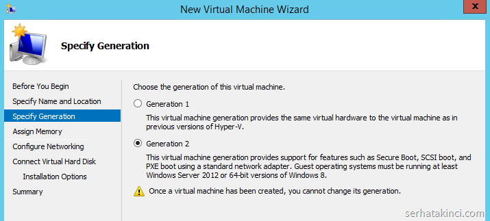 Windows Server 2012 R2 Hyper-V - Generation 2 VM