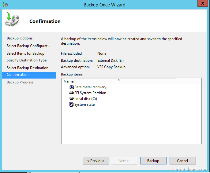 Windows Server Backup - Onay