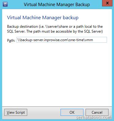 SCVMM Backup Path