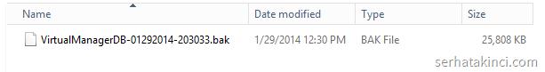 SCVMM Backup File