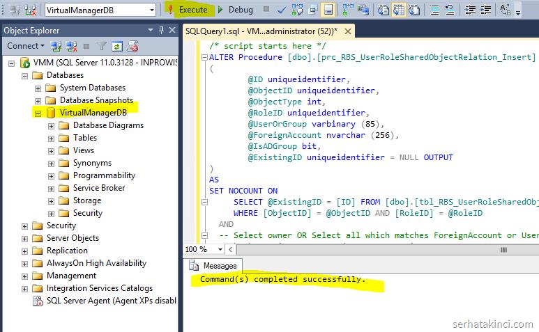 VMM Update Rollup 1 - SQL Script