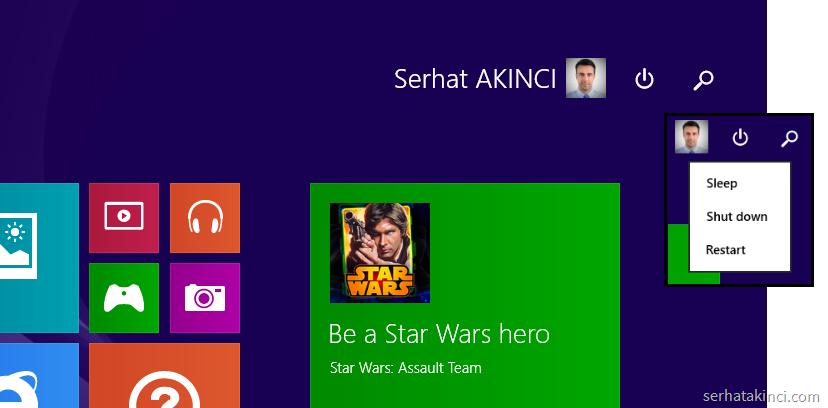 Windows 8.1 Update - Yeni Güç ve Arama Butonları