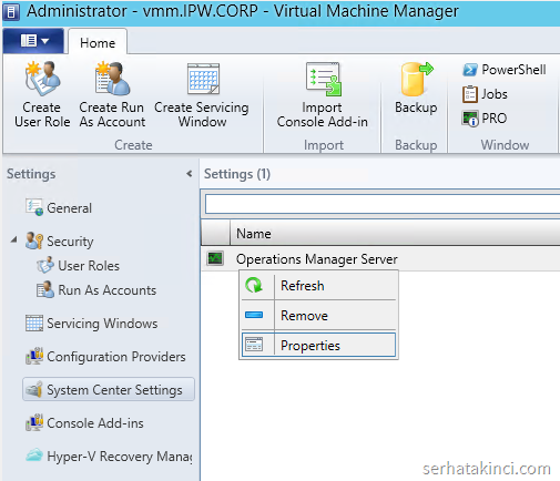 VMM - Operations Manager Server