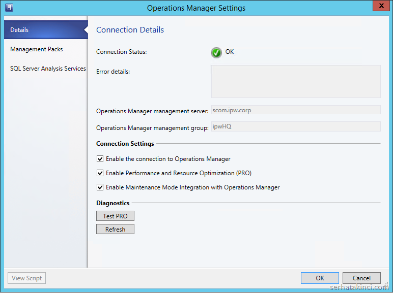 Operations Manager Server - Connection Status