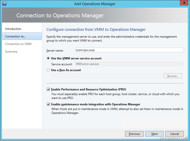 VMM ile SCOM Entegrasyonu - Adım 2
