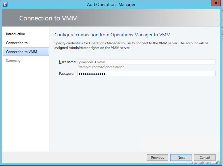VMM ile SCOM Entegrasyonu - Adım 3