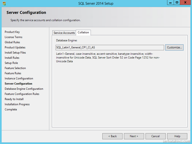 SQL Server 2014 - Collation Ayarları