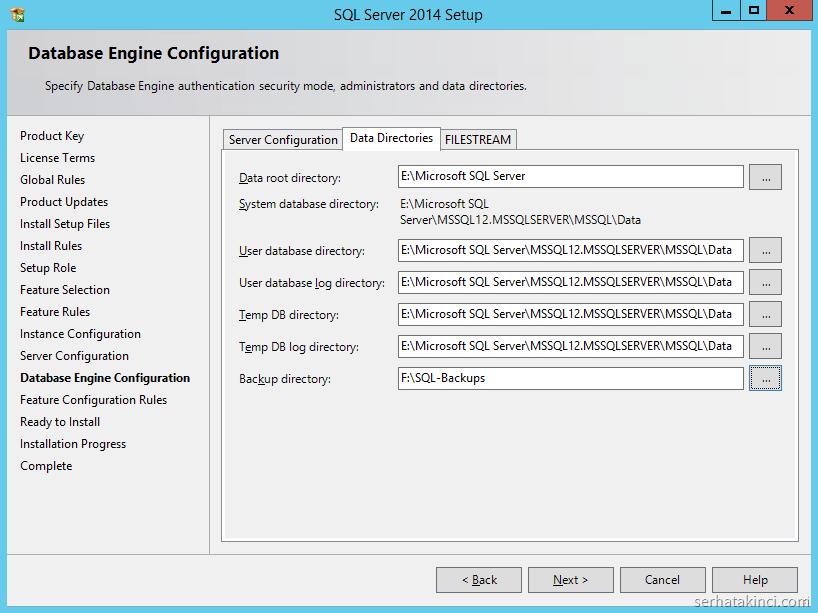 SQL Server 2014 - Data Directories