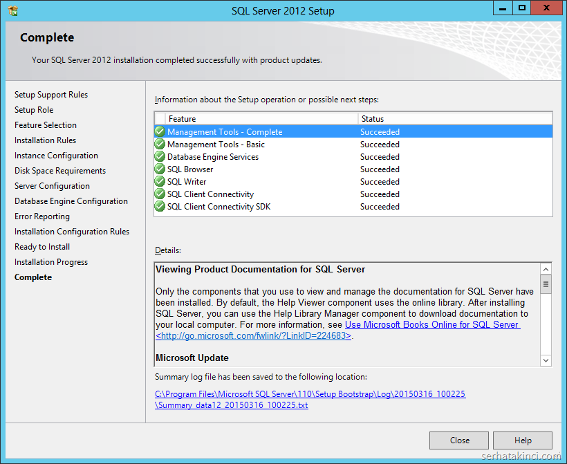 SQL Server 2012 Kurulumu - Adım 16