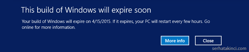 This build of Windows will expire soon