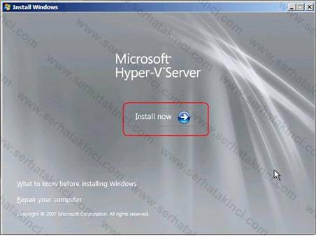 Hyper-V Server 2008 Kurulumu Adım 3