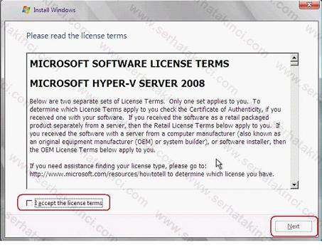 Hyper-V Server 2008 Kurulumu Adım 4