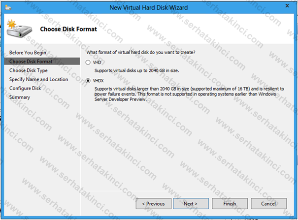 VHDX Virtual Disk Formatı